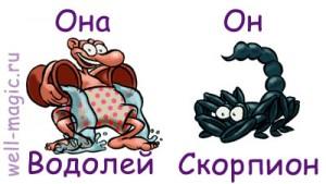 Совместимость женщины водолея и мужчины скорпиона